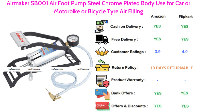 Airmaker Cycle Foot Air Pump with Steel Chrome Plated Body