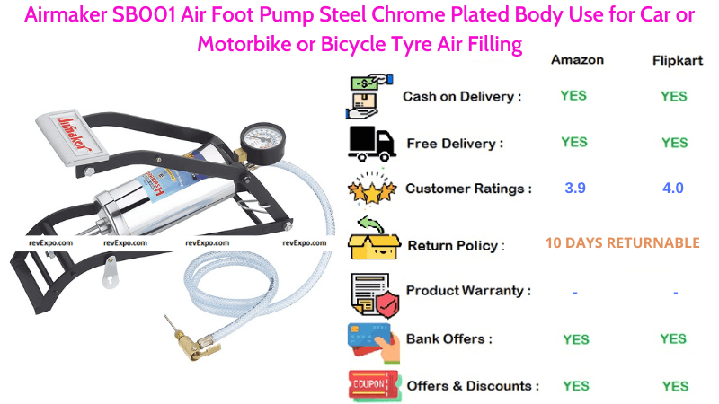 Airmaker Foot Air Pump SB001 Steel Chrome Plated Body