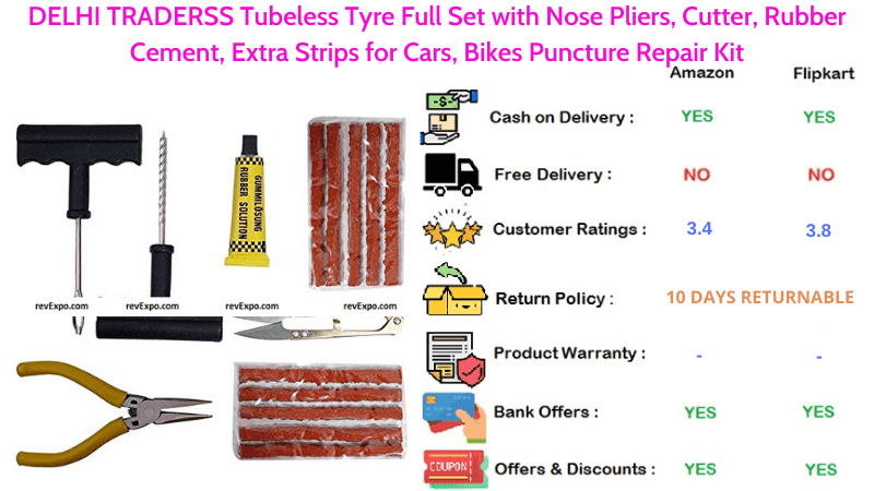 DELHI TRADERSS Tubeless Tyre Puncture Repair Kit with Rubber