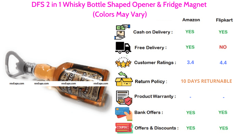 DFS 2 in 1 Whisky Bottle Shaped Opener with Magnet