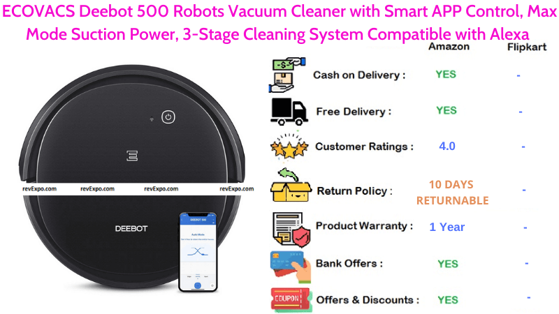 ECOVACS Deebot 500 Robots Vacuum Cleaner with Max Mode