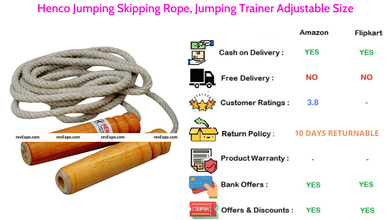 Henco Jumping Skipping Rope, in Adjustable Size