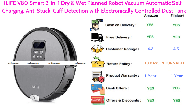 ILIFE V80 Smart 2-in-1 Dry & Wet Planned Vacuum Cleaning Robot