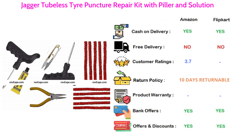 Jagger Tubeless Tyre Puncture Repair Kit with Solution & Piller