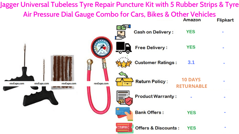 Jagger Universal Tubeless Tyre Puncture Repair Kit with 5 Rubber Strips