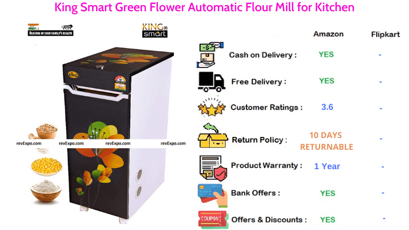 King Automatic Smart Green Flower Flour Mill for Kitchen
