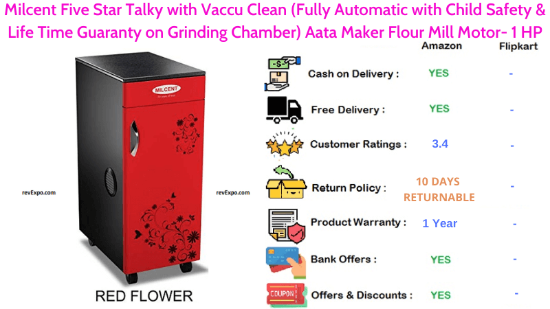 Milcent Fully Automatic Aata Maker Flour Mill Five Star Talky with Vaccu Clean