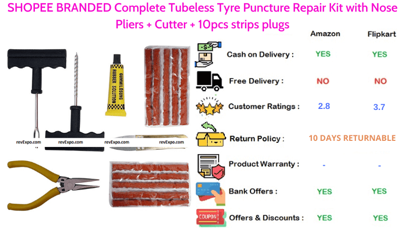 SHOPEE BRANDED Tubeless Tyre Puncture Repair Kit with Cutter