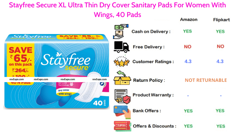 Stayfree Ultra Thin Secure XL Dry Cover 40 Sanitary Pads