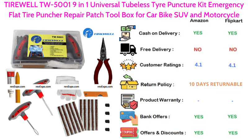 TIREWELL TW-5001 9 in 1 Universal Puncture Kit with Puncher Repair Patch