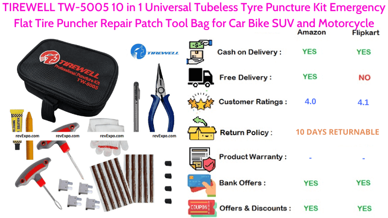 TIREWELL TW-5005 10 in 1 Universal Bicyle Puncture Kit with Emergency Puncher