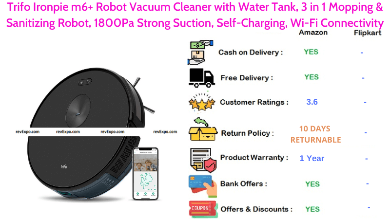Trifo Ironpie m6+ Robot Vacuum Cleaner with 3 in 1