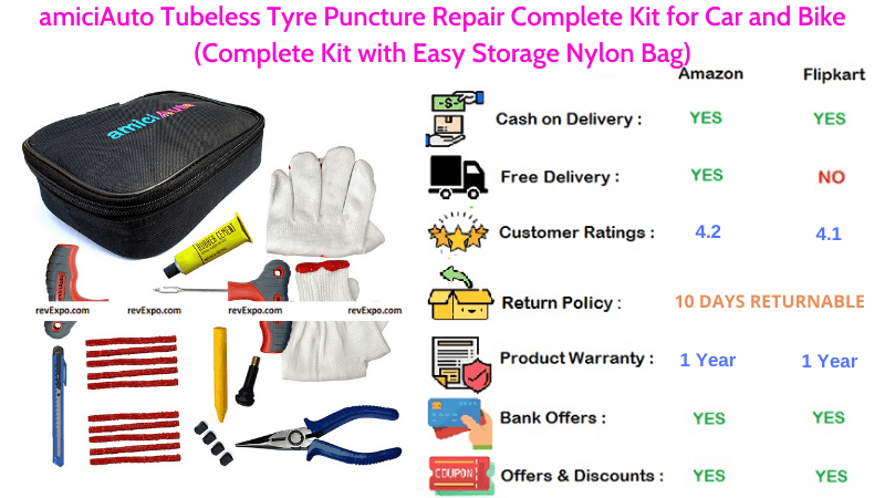amiciAuto Tubeless Tyre Puncture Repair Kit for Car
