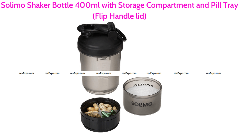 Solimo Shaker Bottle with Storage Compartment