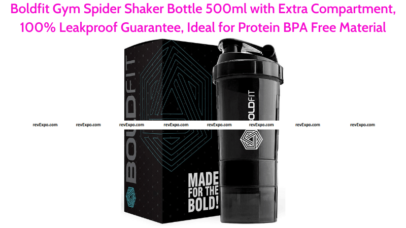 Boldfit Gym Shaker Bottle 500ml with 100% Leakproof Guarantee & Extra Compartment
