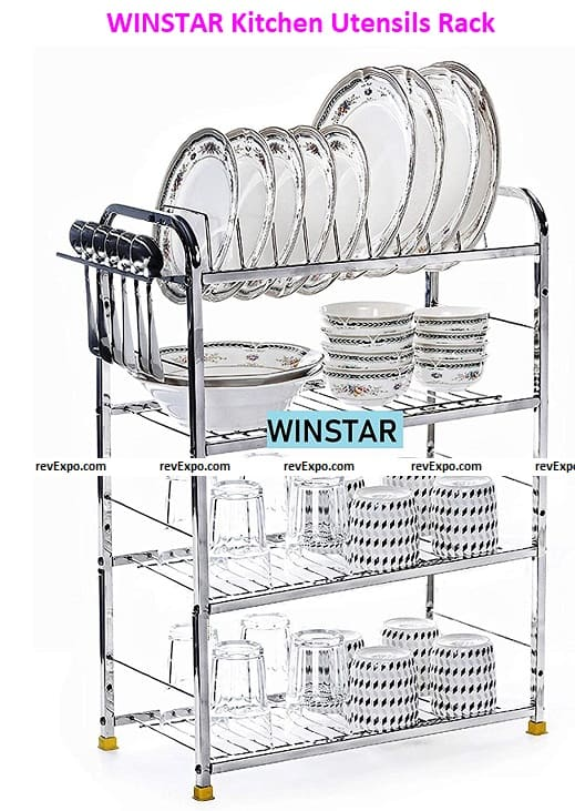 WINSTAR Stainless Steel 4 Shelf Wall Mount Kitchen Utensils Rack | Dish Rack with Plate & Cutlery Stand