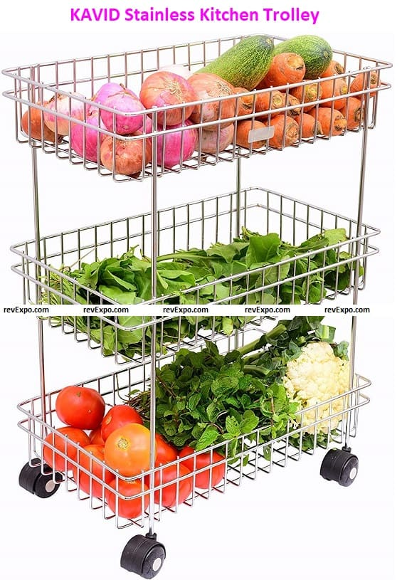 KAVID Stainless Steel 3 Layer Onion Potato Stand for Kitchen Fruit Vegetable Stand Storage Trolley