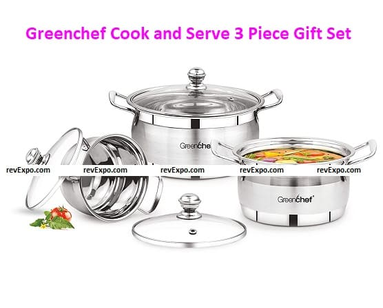 Greenchef Stainless Steel Cook and Serve 3 Piece Gift Set
