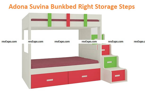 Adona Suvina Twin Bunkbed w/Right Storage Steps and Drawers Strawberry Pink Verdant Green