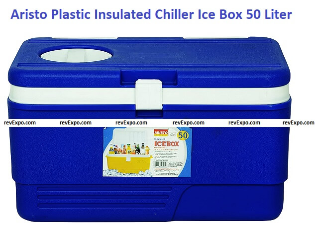 Aristo Plastic Insulated Chiller Ice Box with Vent Lid, 50 Liter, Blue