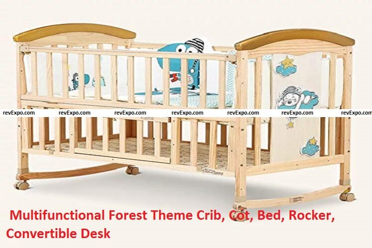 Multifunctional Forest Theme Crib, Cot, Bed, Rocker, Convertible Desk and Kid's Sofa