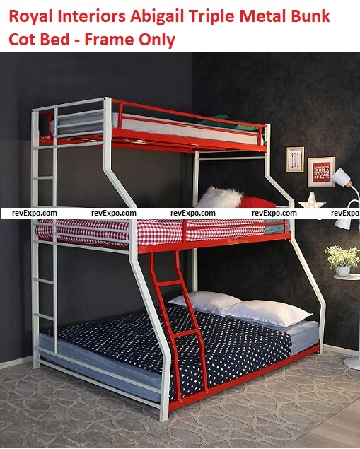 Royal Interiors Abigali Triple Size Metal Bunk Cot Bed - Frame Only, Mattress not Included