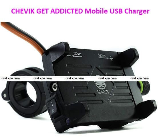 CHEVIK GET ADDICTED Claw-Grip Aluminium Waterproof Mobile Holder Mount with USB Charger