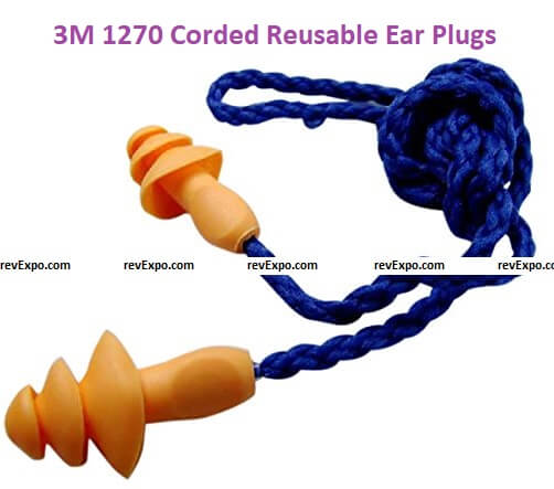 3M 1270 Corded Reusable Ear Polyurethane Plugs, Pack of 1