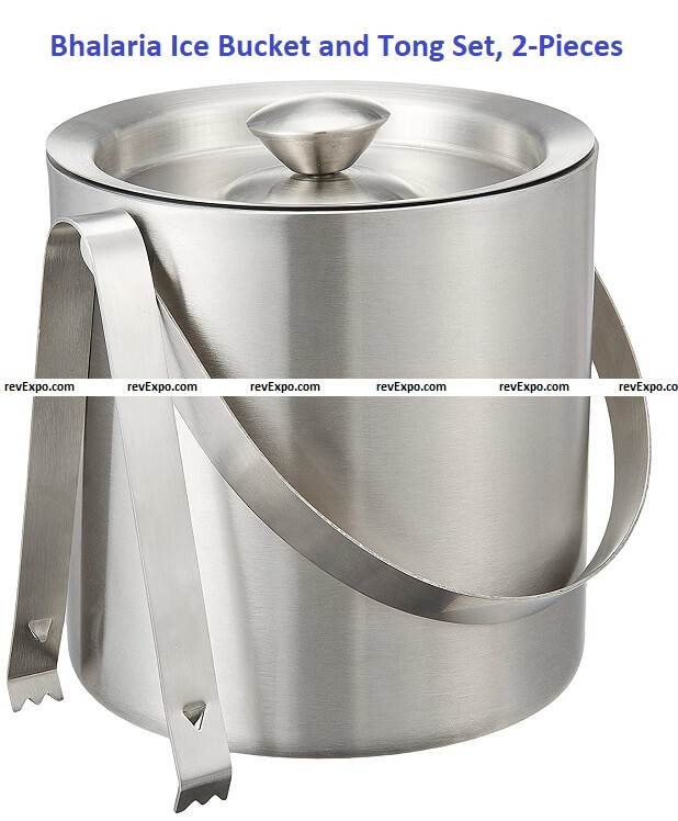Bhalaria - 15729 Ice Bucket and Tong Set, 2-Pieces