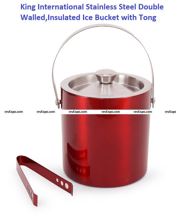 King International Stainless Steel Double Walled, Insulated Ice Bucket with Tong, 1750 ml (Red)