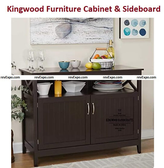 Kingwood Furniture Cabinet & Sideboard for Kitchen and Living Room in Sheesham Wood with Walnut Finish