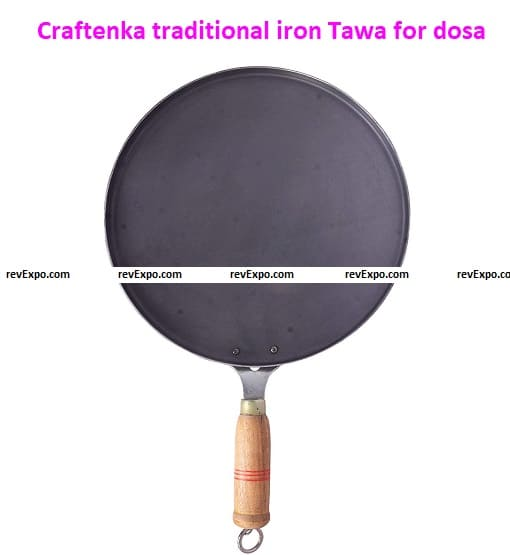 Craftenka traditional iron Tawa for dosa, roti, chapatti with wooden handle