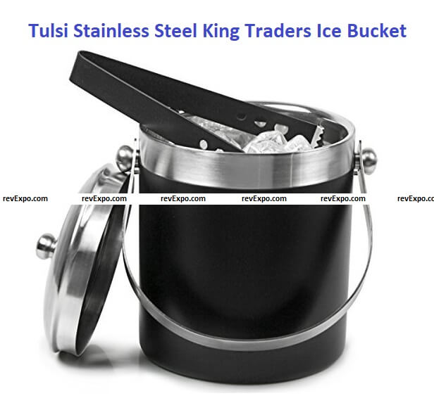 Tulsi Stainless Steel King Traders Ice Bucket, 1750 ml, Black, 2 Pieces