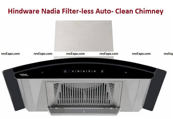 Hindware Nadia 60 cm 1200 m^3/hr Filter-less Auto- Clean Chimney with Motion Sensor and Touch Control