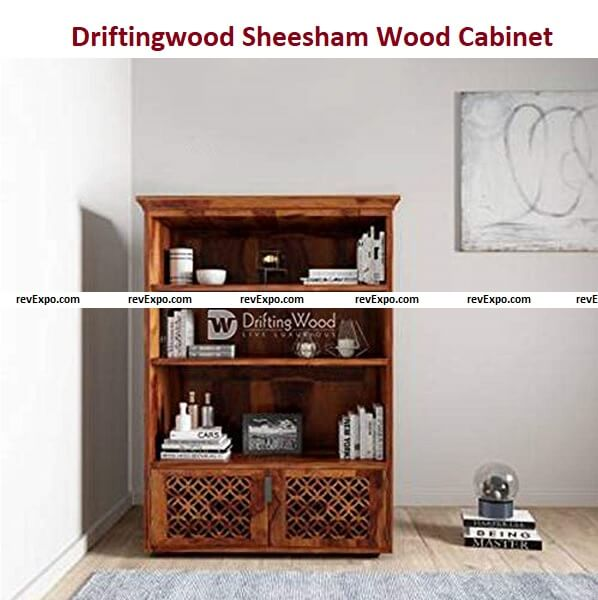Drifting wood Sheesham Wood Bookcase/Cabinet with 3 Racks for Living Room in Honey Finish