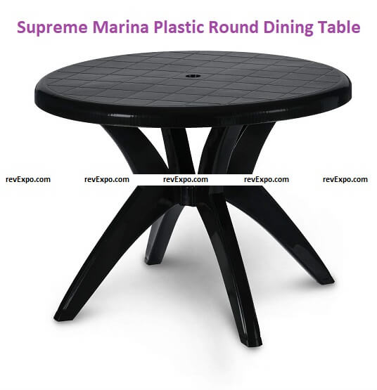 Supreme Marina 4 Seater Plastic Round Dining Table for Home and Office