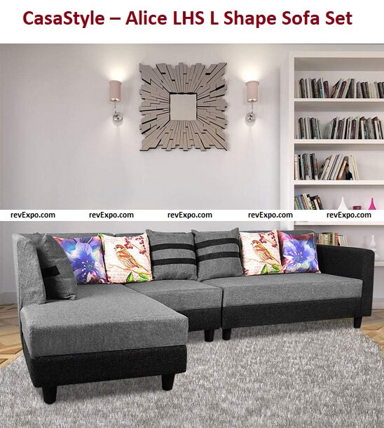 CasaStyle – Alice 6 Seater LHS L Shape Sofa Set for Living Room (Light Grey-Black) Strong Wooden Base and Superb Comfort for Your Home