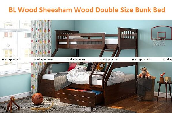 BL Wood Sheesham Wood Double Size Bunk Bed with Storage for Bedroom
