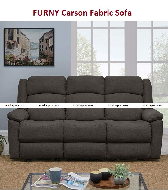 FURNY Carson Fabric 3 Seater Manual with German Recliner Mechanism Sofa