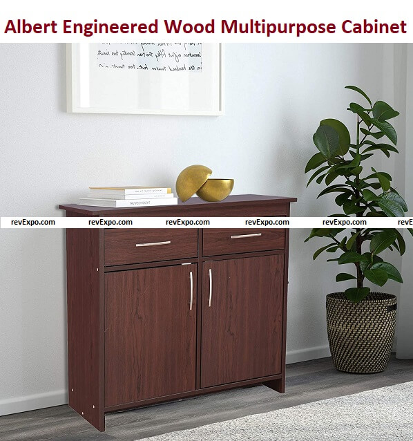 Home Town Albert Engineered Wood Multipurpose Cabinet in Cherry Brown Colour