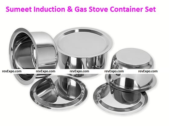 Sumeet 3 Pcs Stainless Steel Induction & Gas Stove Friendly Container Set