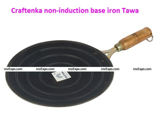 Craftenka non-induction base iron Tawa with wooden handle