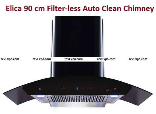 Elica 90 cm 1200 m3/hr Filter-less Auto Clean Chimney with Free Installation Kit