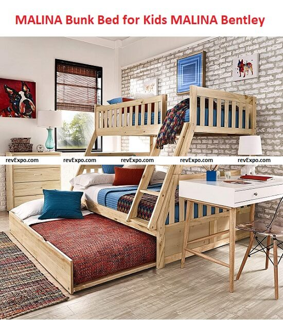 MALINA Bentley BUNK Bed for Kids 78x56x65 inches