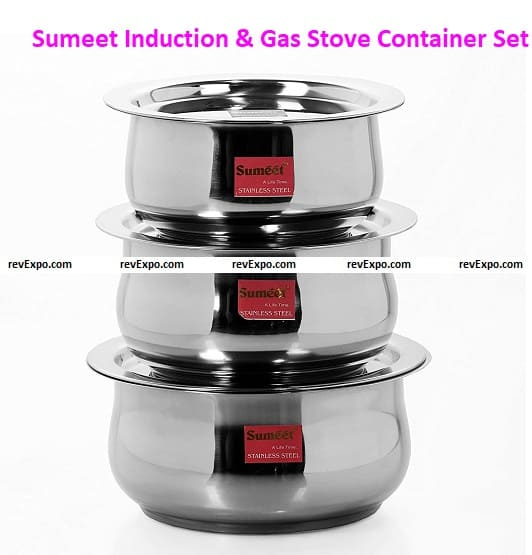 Sumeet 3 Pcs Stainless Steel Induction & Gas Stove Friendly Belly Shape Container Set