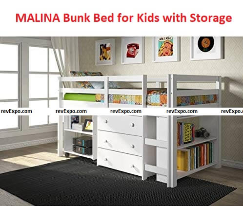MALINA Bunker Bed with Storage 79x41x43 inches