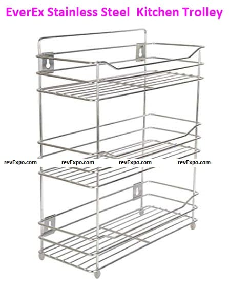 EverEx Stainless Steel Spice 3-Tier Layer Fruits & Vegetable Onion Trolley Organizer