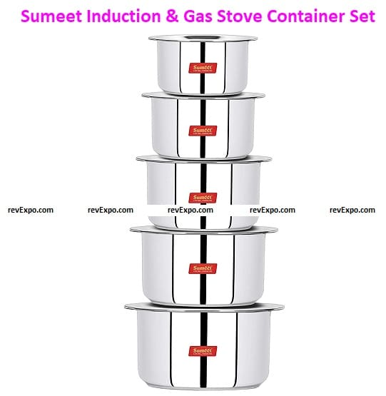 Sumeet Induction & Gas Stove Friendly Stainless Steel 5 Pcs Big Size Container Set