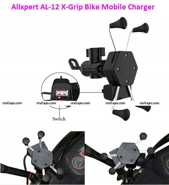 Allxpert AL-12 X-Grip Bike Mobile Charger & Phone Holder Version 2 for All Bikes Scooters
