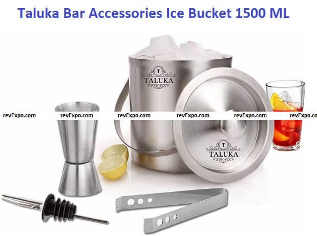 Taluka Bar Accessories Ice Bucket 1500 ML   Ice Tong   Peg Measure   Pourer   Set of 4 Pieces